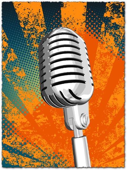 412x550 Grunge Microphone Vector Design