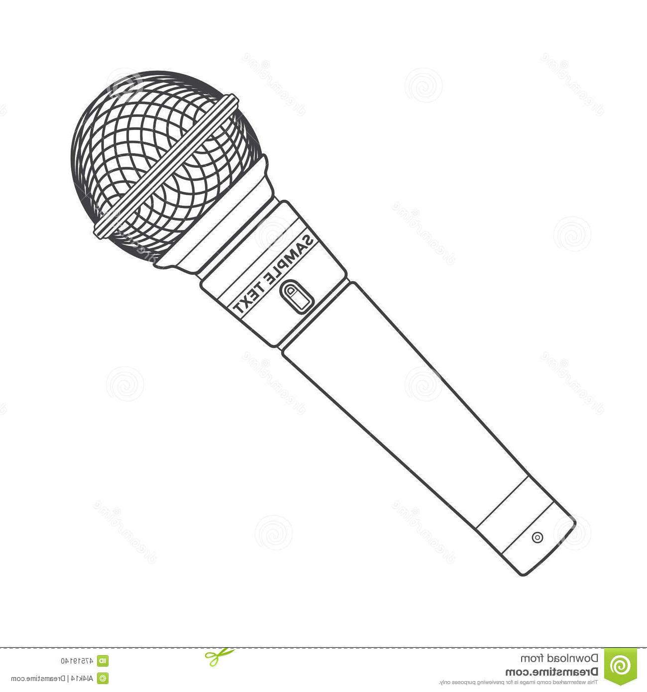 1300x1390 Best Free Outline Stage Microphone Vector Dark Grey Color Device