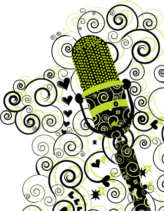 332x425 Floral Microphone Vector Free Vector In Encapsulated Postscript