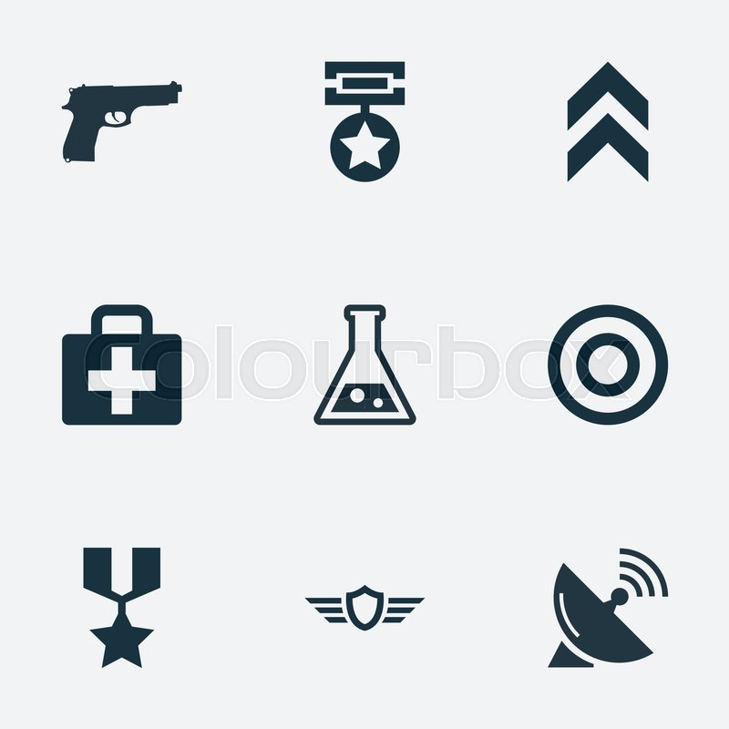 800x800 Vector Illustration Set Of Simple Army Icons. Elements Target
