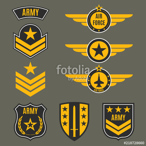 500x500 Army And Military Badge Set. Shields With Army Emblem. Vector