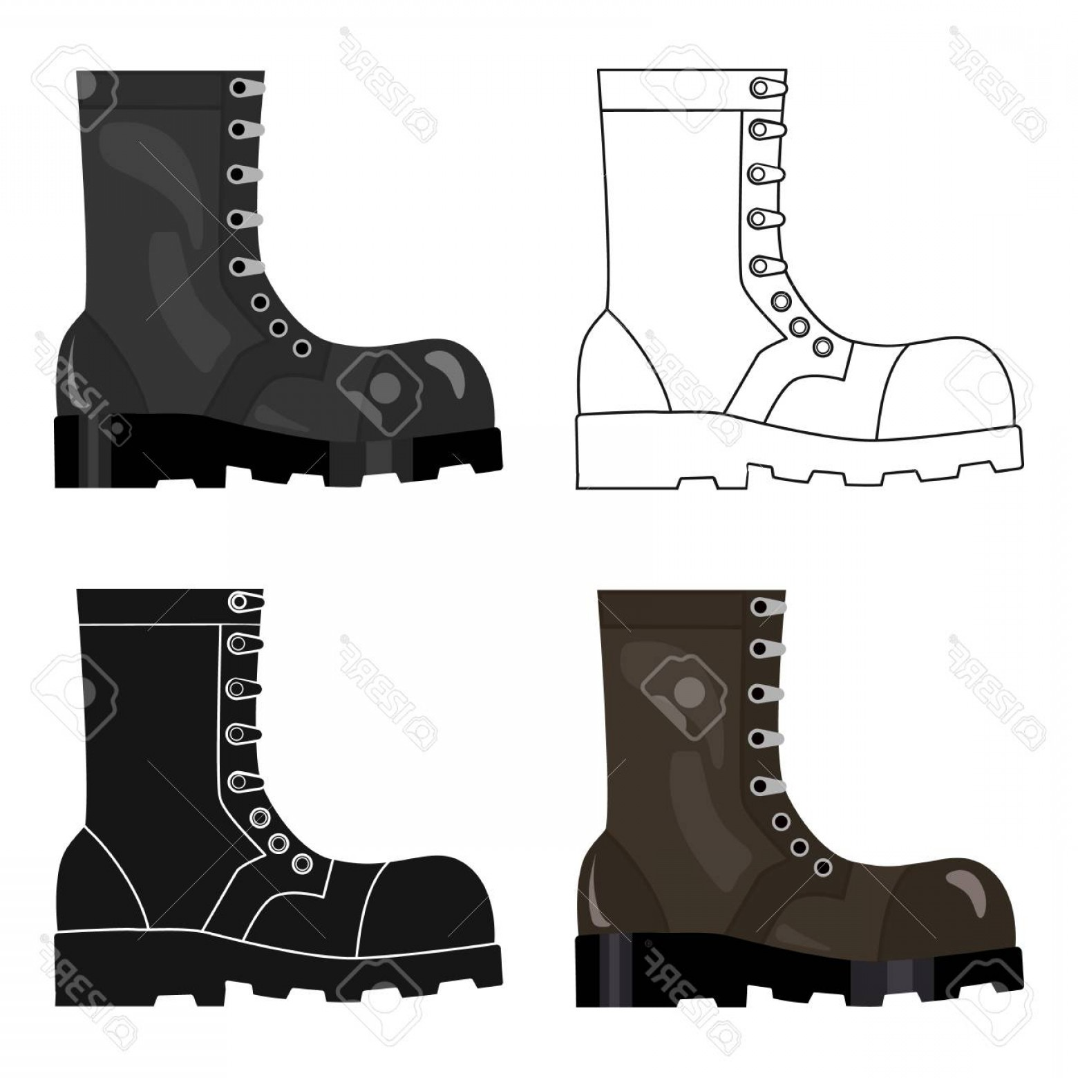 1560x1560 Photostock Vector Army Combat Boots Icon In Cartoon Style Isolated