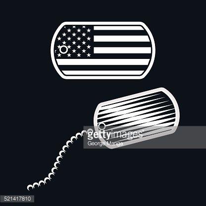 416x416 American Military Dog Tag Illustration Vector Premium Clipart