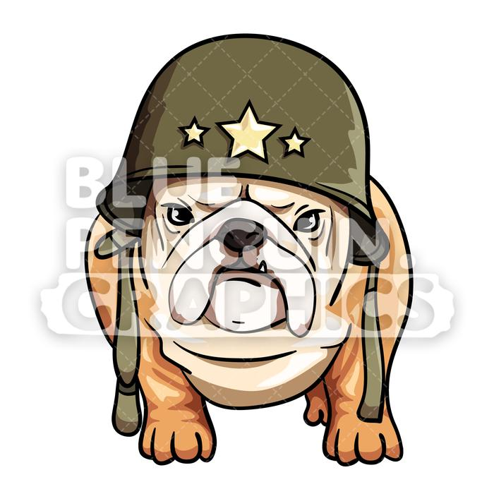 700x700 Pug Dog Standing With Military Helmet Vector Cartoon Clipart