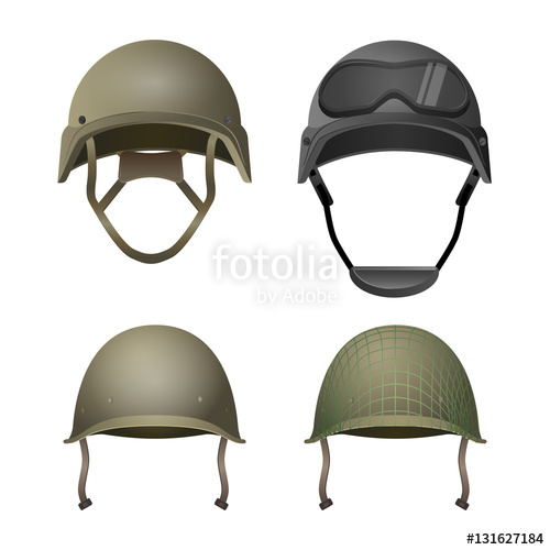 500x500 Set Of Military Helmets. Classical, With Goggles, Combat And