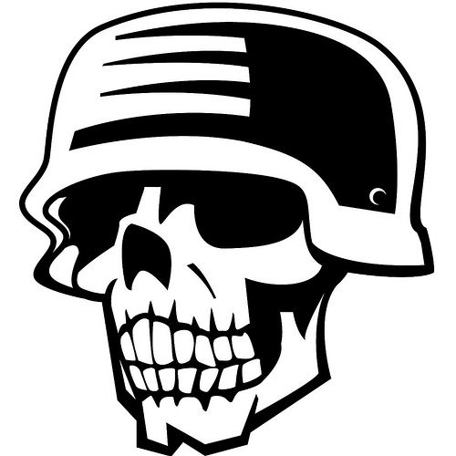 500x500 Skull In Military Helmet Skull Vectors