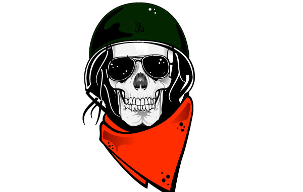 600x380 Skull In Military Helmet Vector Vector Free Download