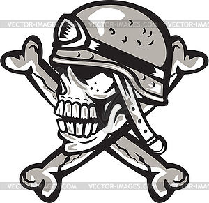 300x291 Skull Military Helmet Crossed Bones Retro
