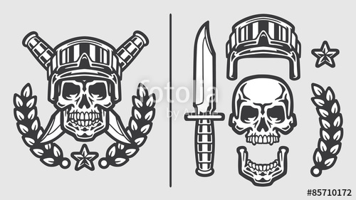 500x281 Skull Military Helmet With Crossed Knives Olive Branch And Star