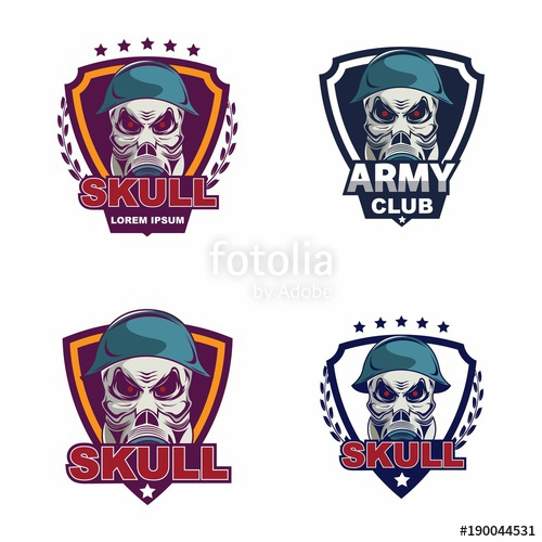500x500 Skull In Military Helmet And Gas Mask Logo Stock Image And