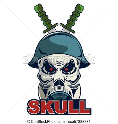 450x470 Skull In Military Helmet And Gas Mask Logo For Business.