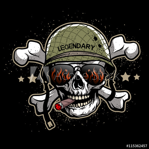 500x500 Skull In Sunglasses And A Military Helmet.