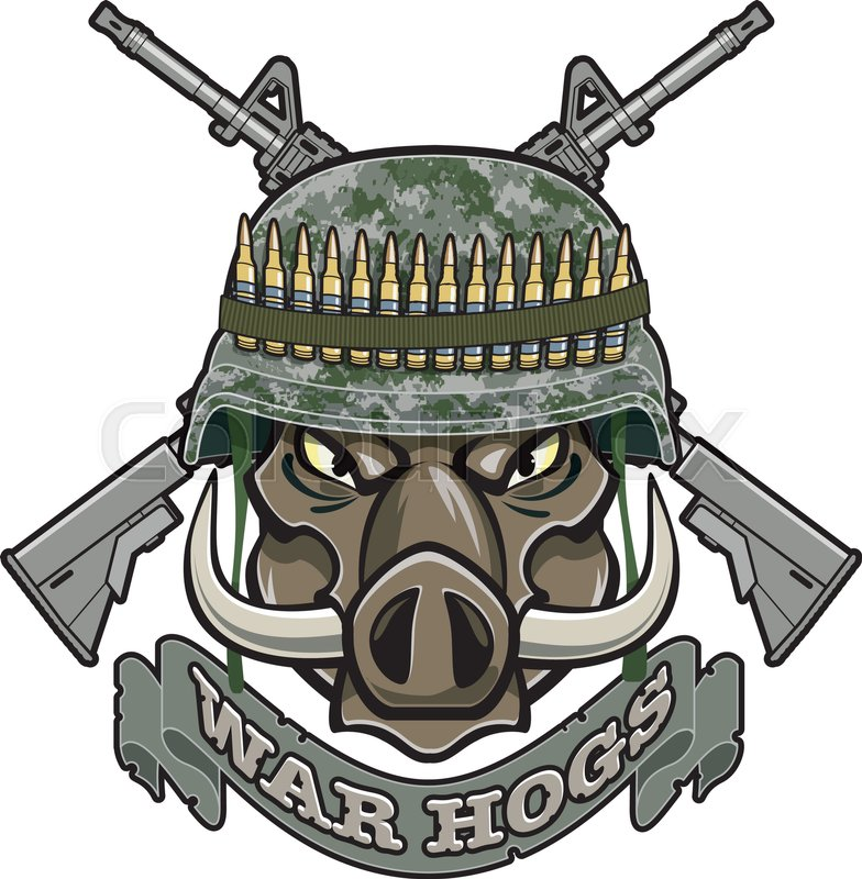 784x800 Wild Boar With Military Helmet And Crossed Assault Rifles Stock