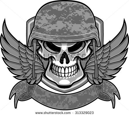 450x405 Skull With Military Helmet, Wings And Banner