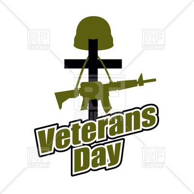 400x400 Cross And Military Helmet With Gun. Veterans Day. Vector Image