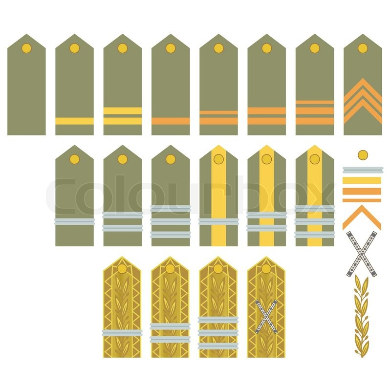 800x800 Military Ranks And Insignia Of The World. Illustration On White