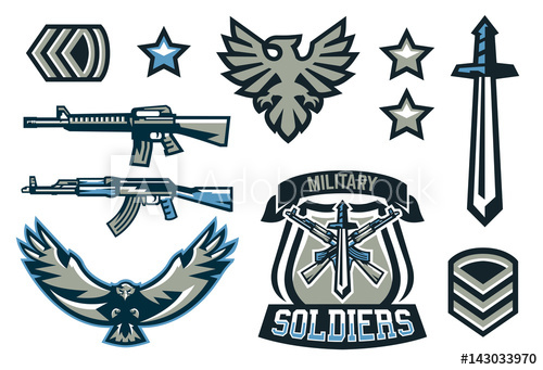 500x341 Set Of Military And Military Badges. Emblems, Automatic Weapons