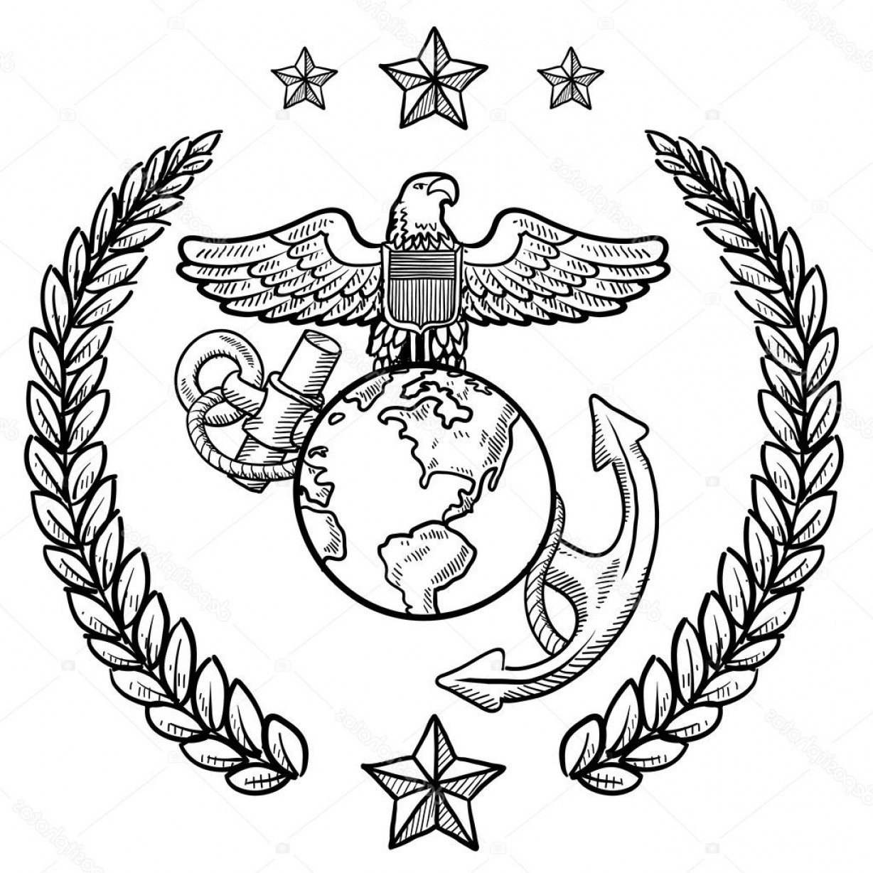 1228x1228 Stock Illustration Us Marine Corps Military Insignia Shopatcloth