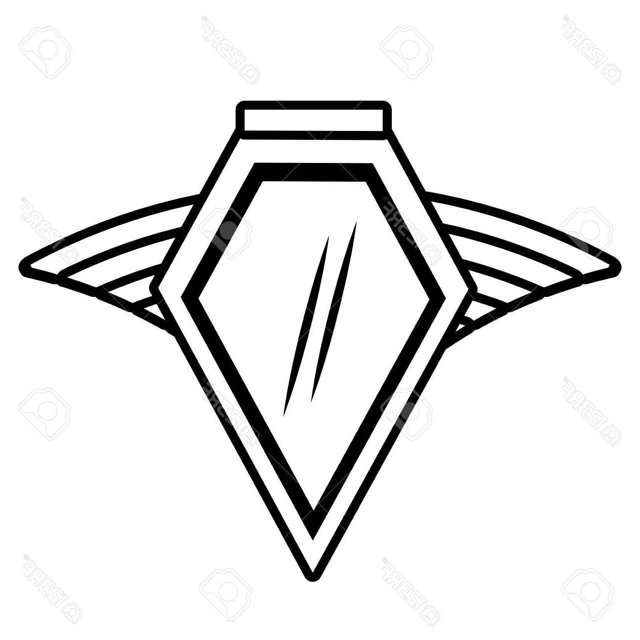 1300x1300 Top Shield Insignia Military Winged Outline Empty Vector