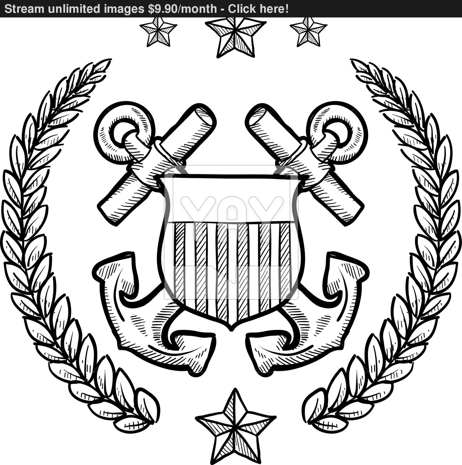 1590x1600 Coast Guard Military Insignia Vector Sketch Vector