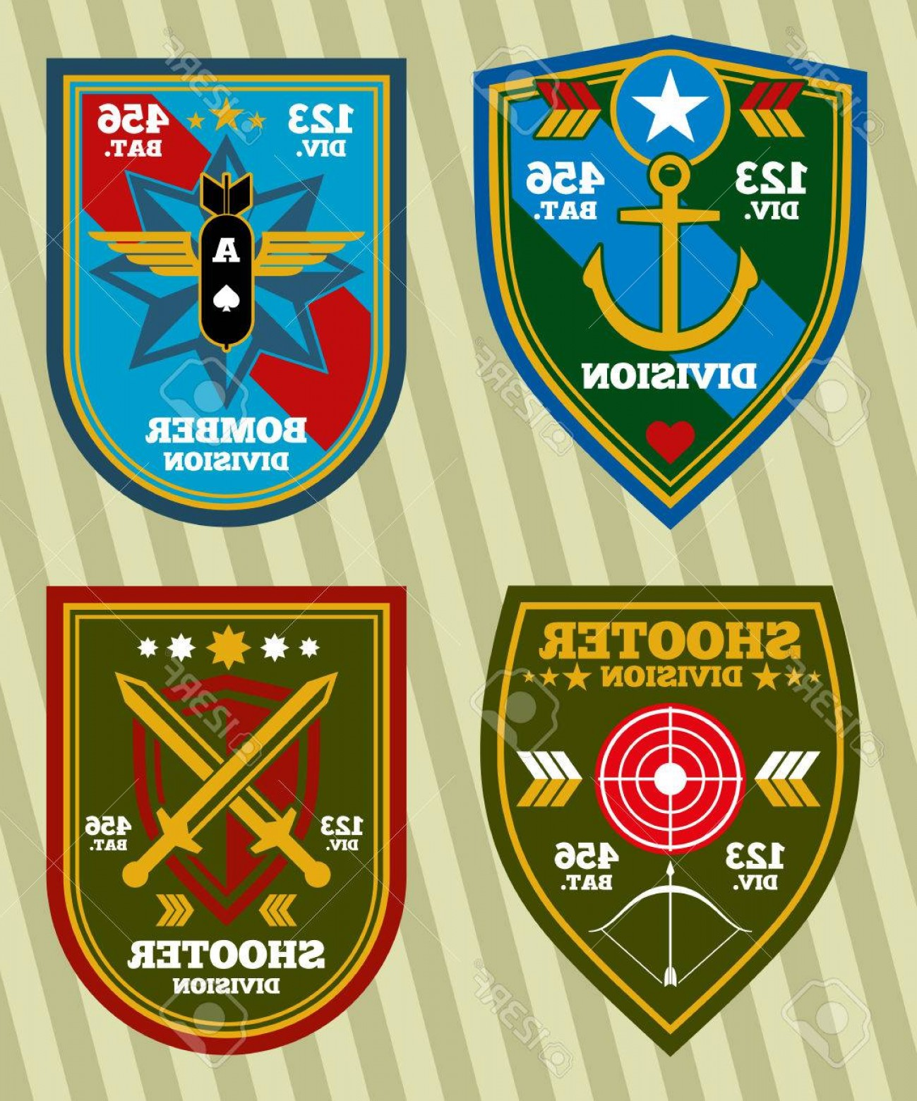 1299x1560 Photostock Vector Special Unit Military Army And Navy Patches