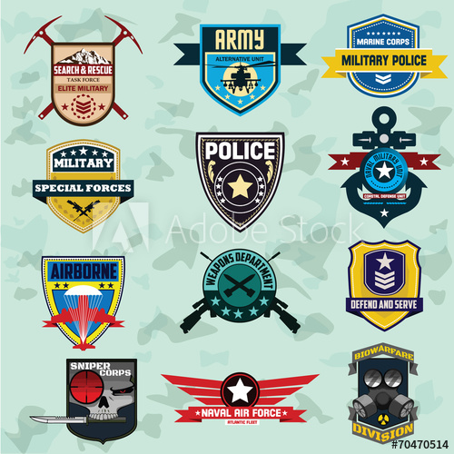 500x500 Set Of Military And Armed Forces Badges And Labels Logo. Vector