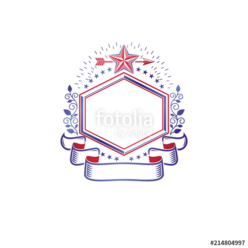 500x500 Graphic Emblem Decorated With Military Star And Simple Ribbon
