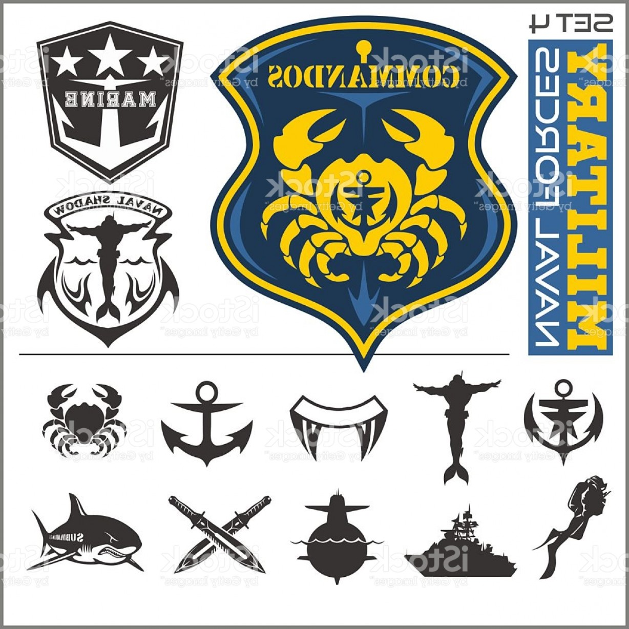 1228x1228 Military And Naval Forces Badges Design Elements Vector Set Gm