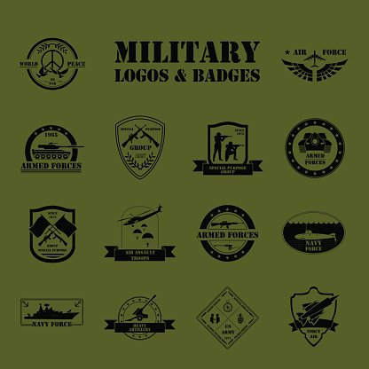416x416 Military Logo And Graphic Template Stock Vectors