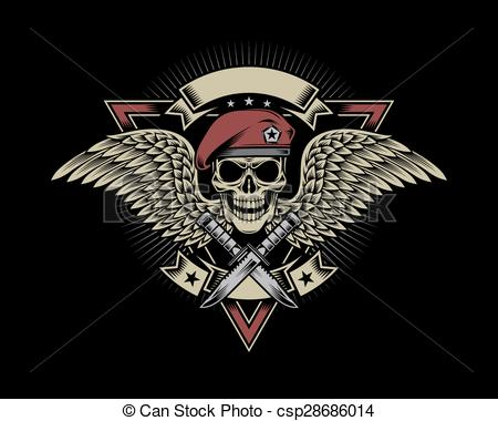 450x380 Military Skull With Wings. Fully Editable Vector Illustration
