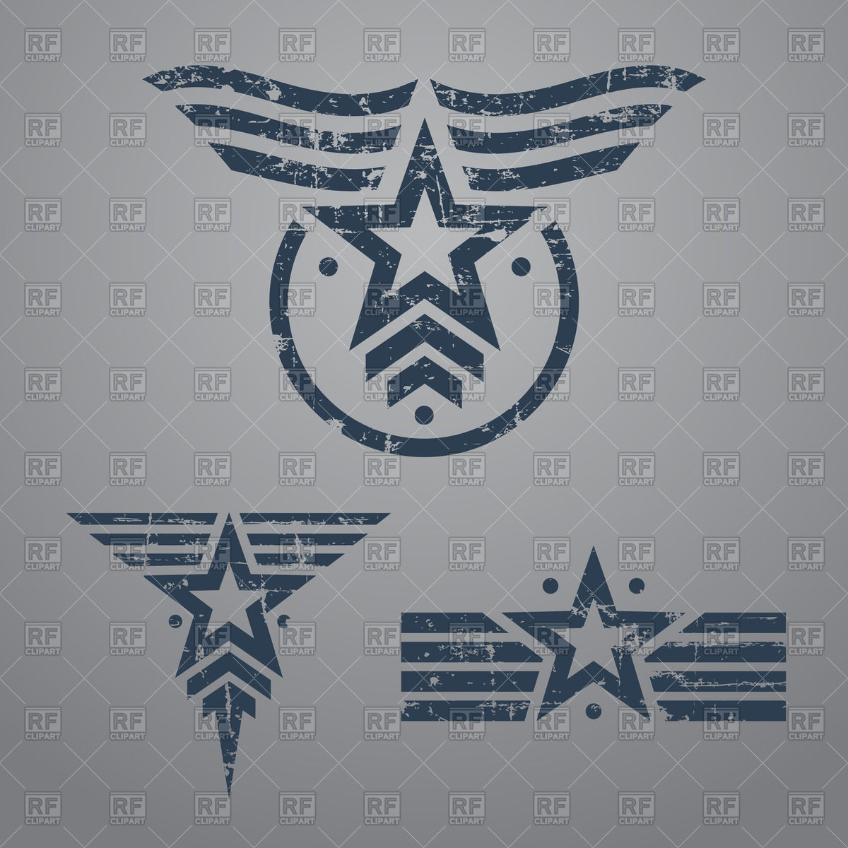1200x1200 Set Of Grunge Military Star Emblems On Gray Background Vector