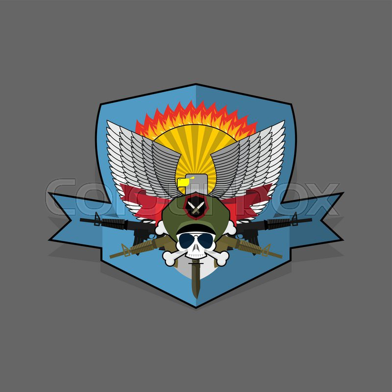 800x800 Special Forces Emblem. Military Logo Embroidery. Skull Helmet With