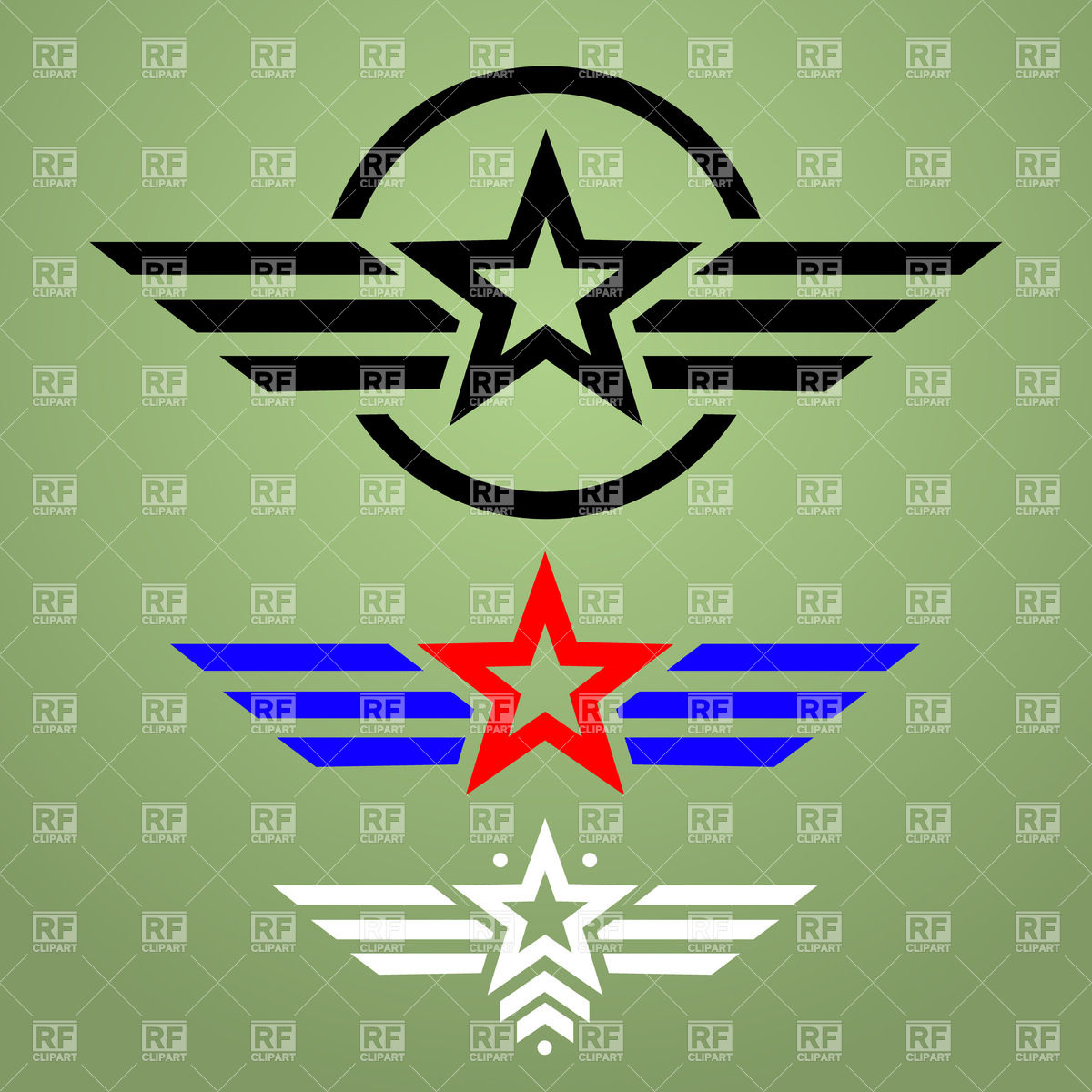 1200x1200 Template Of Military Style Emblem With Star And Wings Vector Image