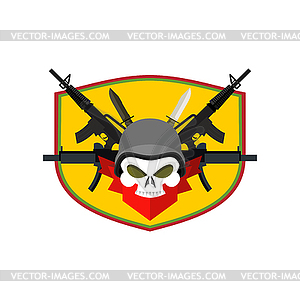 300x300 Army Logo Skull. Soldiers Badge. Military Emblem.
