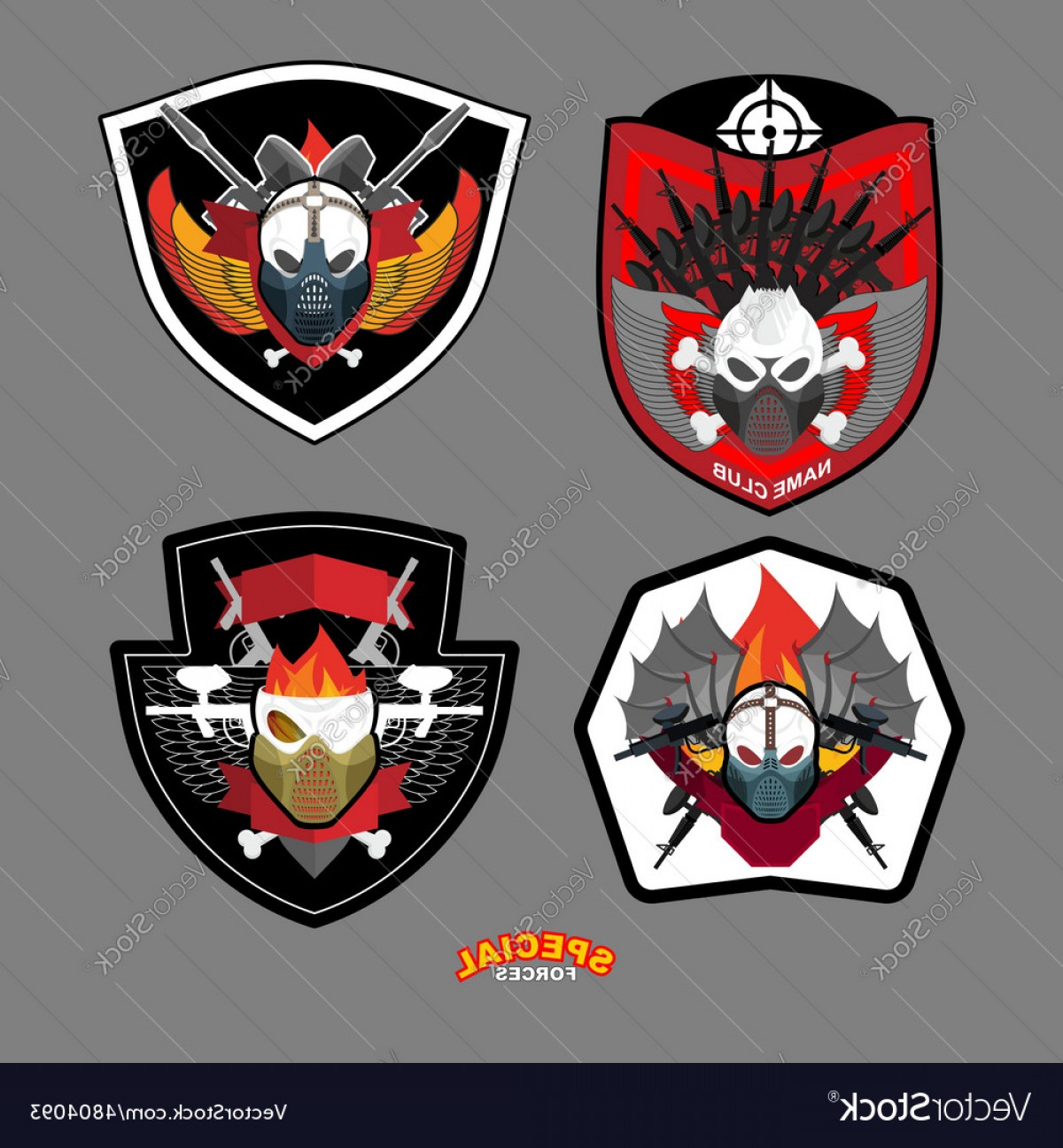 1200x1296 Army Emblem Set Special Forces Patch With Skull Vector Sohadacouri