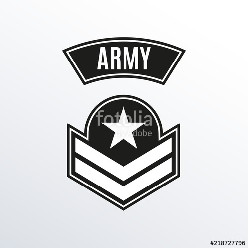 500x500 Army Badge. Military Patch With Star. Force Emblem. Vector
