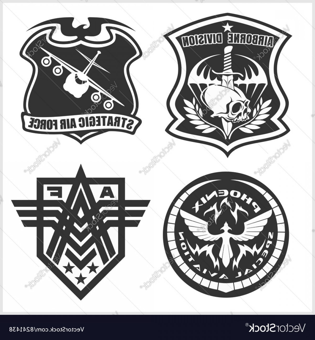 1200x1296 Military Airforce Patch Set Armed Forces Badges Vector Lazttweet