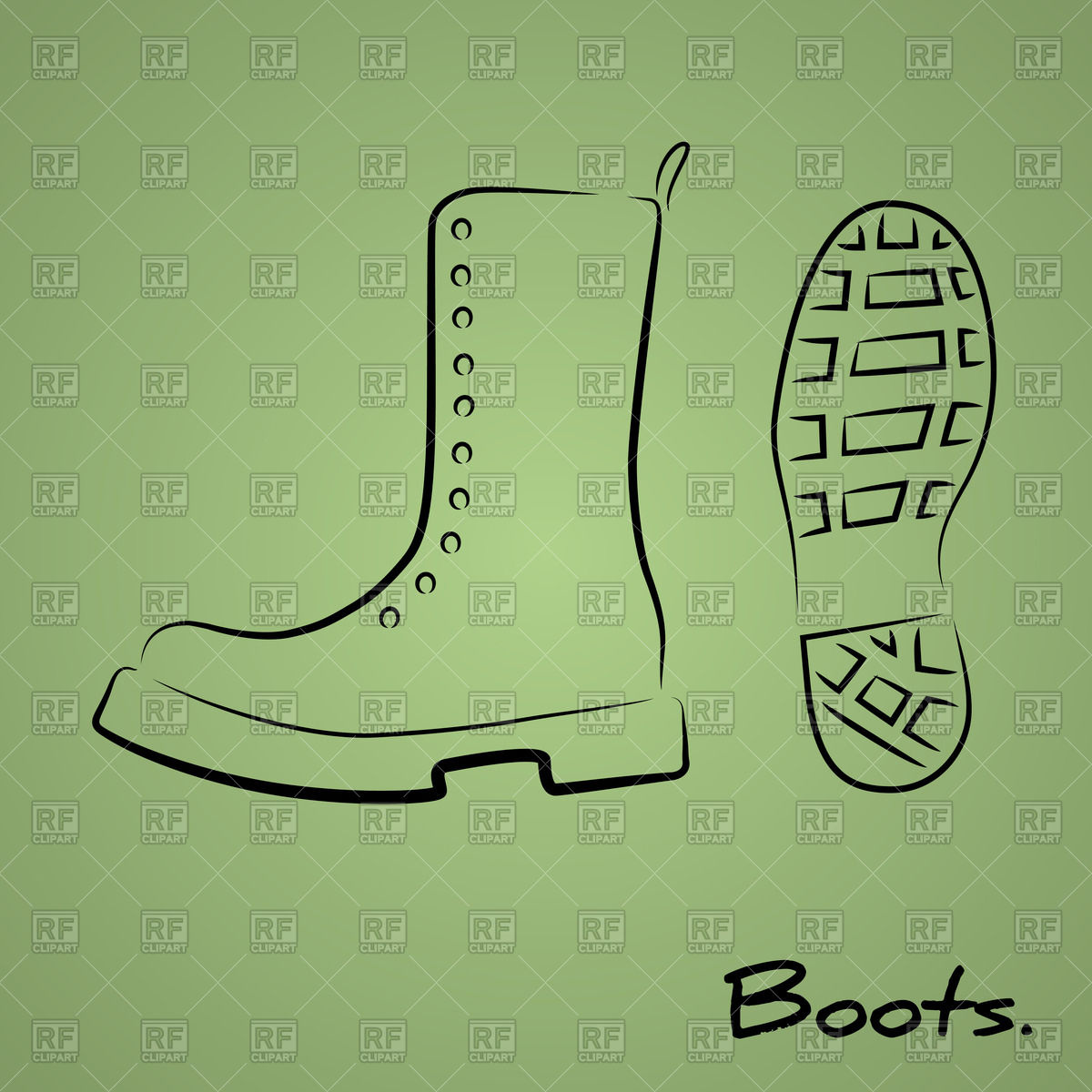 1200x1200 Hand Drawn Stylized Military Boot With Shoeprint Vector Image