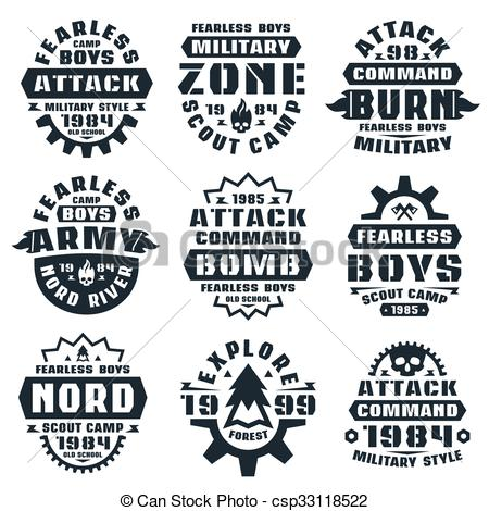 450x470 Military Badges. Graphic Design For T Shirt. Black Print On White