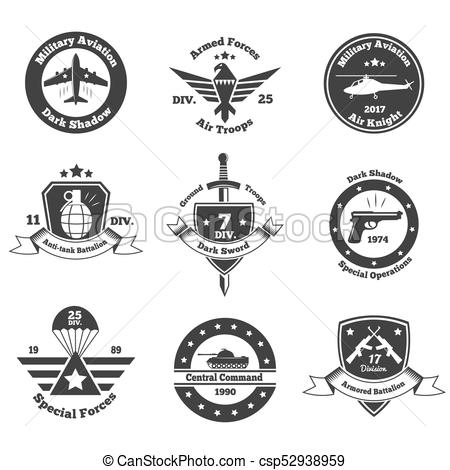 450x470 Monochrome Military Emblems Set. Set Of Nine Isolated Monochrome