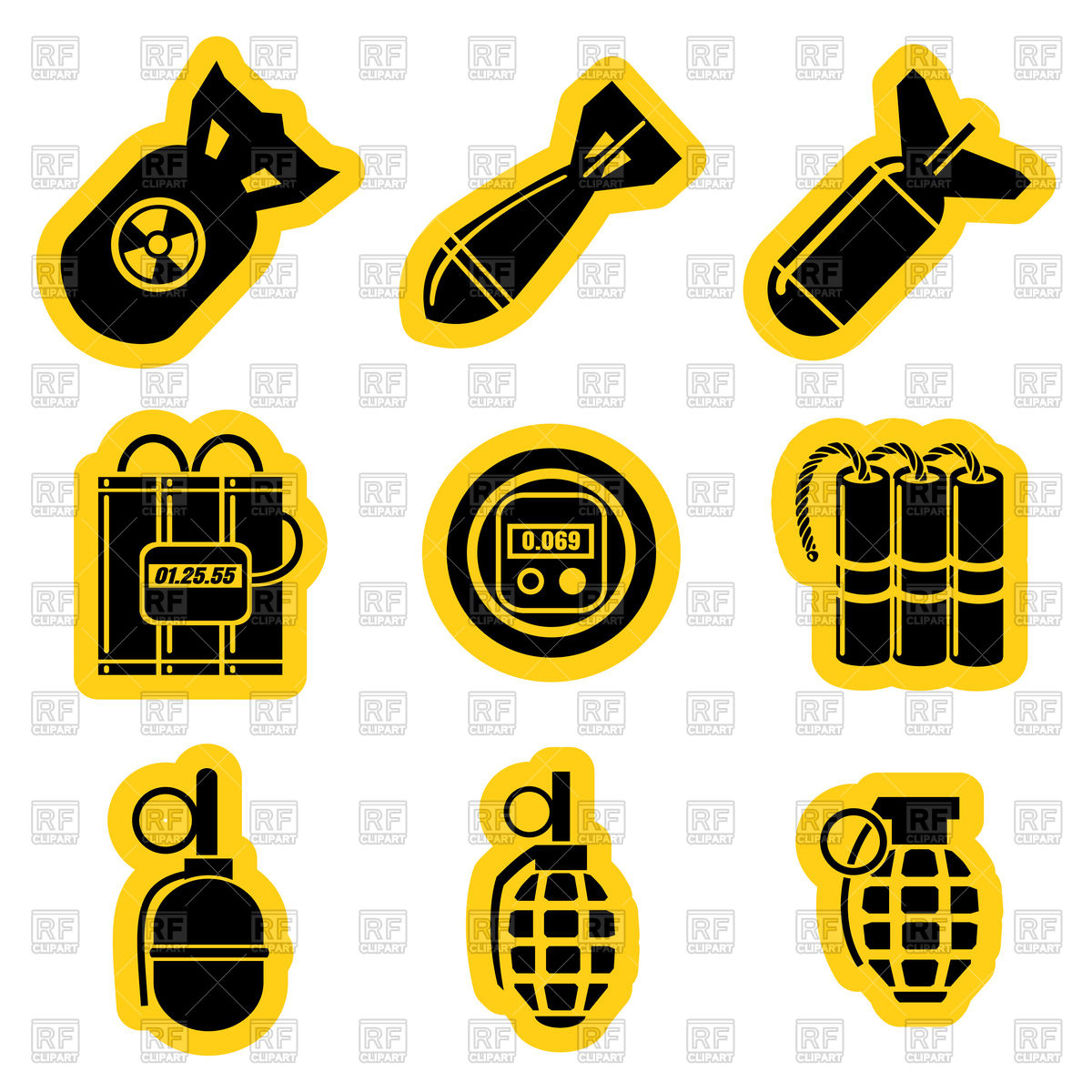 1200x1200 Set Of Military Weapon With Yellow Outline