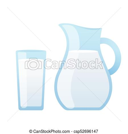450x470 Milk Jug And Glass Of Milk Isolated On White Background. Simple