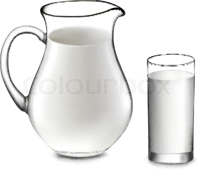 800x682 Milk Jug And Glass Of Milk. Vector Stock Vector Colourbox