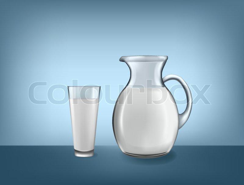 800x605 Milk Jug And Glass Of Milk. Vector. Stock Vector Colourbox