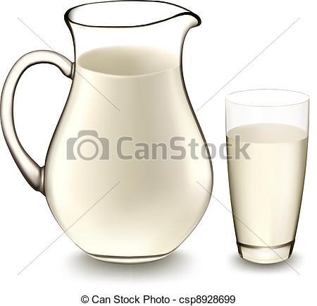 450x434 Milk Jug And Glass Of Milk. Vector Illustration. .