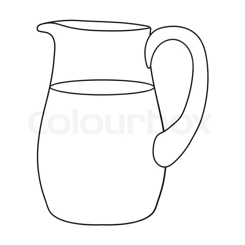 800x800 Milk Jug Icon In Outline Style Isolated On White Background. Milk