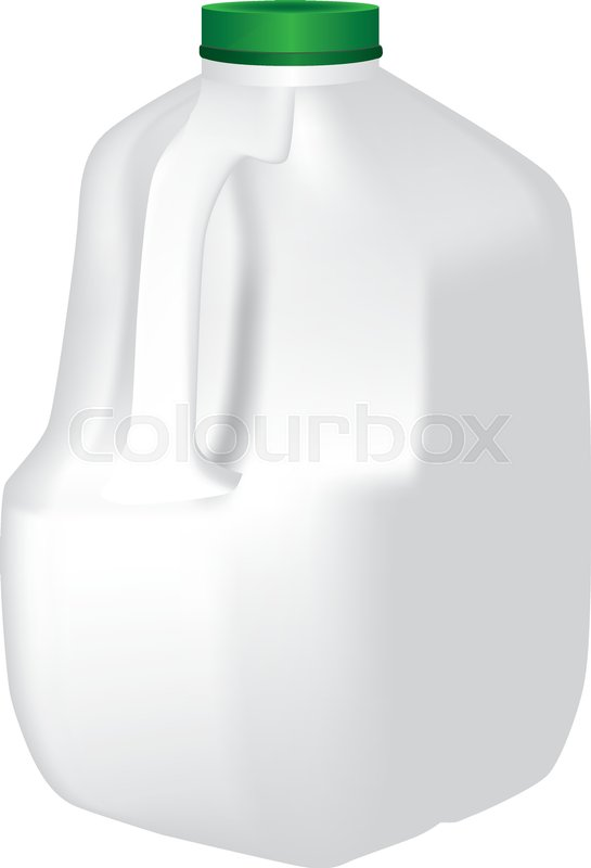 545x800 Plastic Standard Gallon Jug Of Milk. Vector Illustration Of An