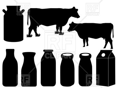 400x300 Silhouettes Of Cows And Milk Bottles And Milk Can Vector Image