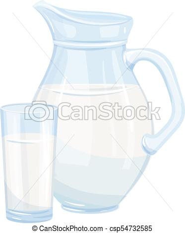 373x470 Vector Milk Jug And Glass. Illustration Of The Breakfast Concept