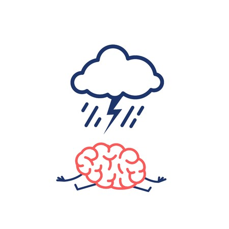 450x450 Depressed Mind. Vector Concept Illustration Of Sad Brain With
